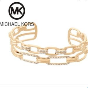 Michael Kors Gold Pave Links Double Chain Cuff NWT